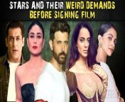 Every player of a game has its own beliefs andIt seems that this quality is not just limited to the sportspersons because being a star in Bollywood also comes with a few rules and demands and these stars make sure they move according to it or they would just deny acting at all. Well let's have a look at this video to know stars and their weird demands before signing a film.